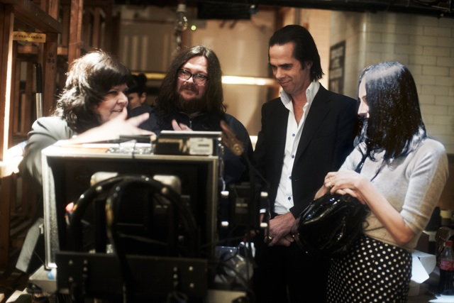 Nick Cave on set with Directors Iain Forsyth and Jane Pollard.